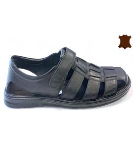 Mens Sandals Leather 208 BLACK